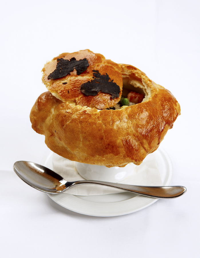 WPC Chicken Pot Pie with Shaved Black Truffles and Roasted Vegetables