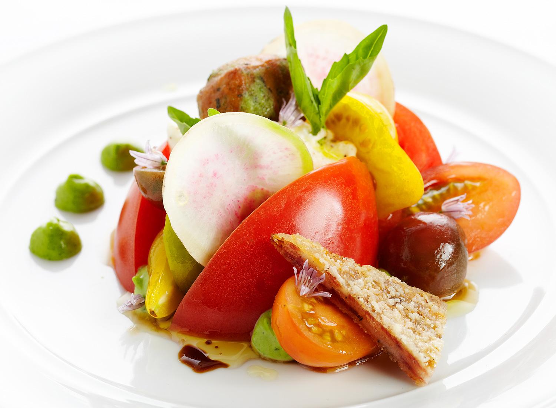 Heirloom Tomato Salad, Burrata Cheese, Prosciutto Brittle, Beignet, Flowers
