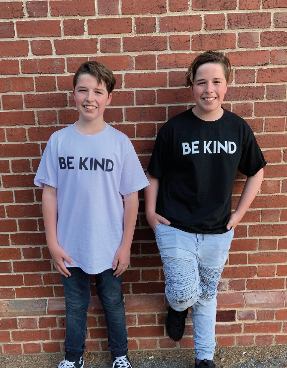 Callum and Jackson McPartlane are helping raise money for the Alannah & Madeleine Foundation through sales of their t-shirts.