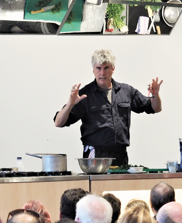 Matthew Evans presents his cooking demonstration at the Food for Thought Mini Fair.