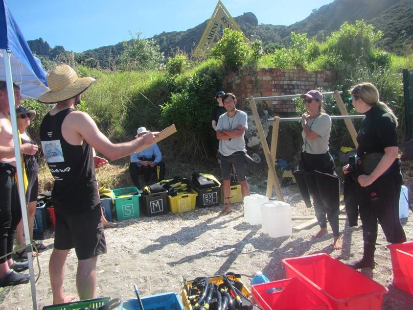 Delivering the snorkel guide briefing at Reotahi.jpg