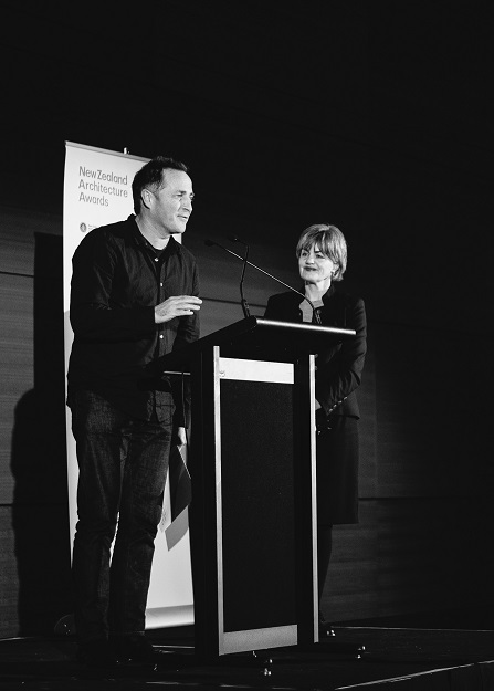 NZIA 2015 Auckland Local Architecture Awards                                                                        We are thrilled with the outcome. We received three awards at the NZIA Local Architecture Awards this year. The winning projects were  Westmere Alteration ,  The Crossing  and  Te Kohanga on Waiheke . Here is Paul with his acceptance speech and awards juror Nicole Legat.   Photo credit – David St George Photography