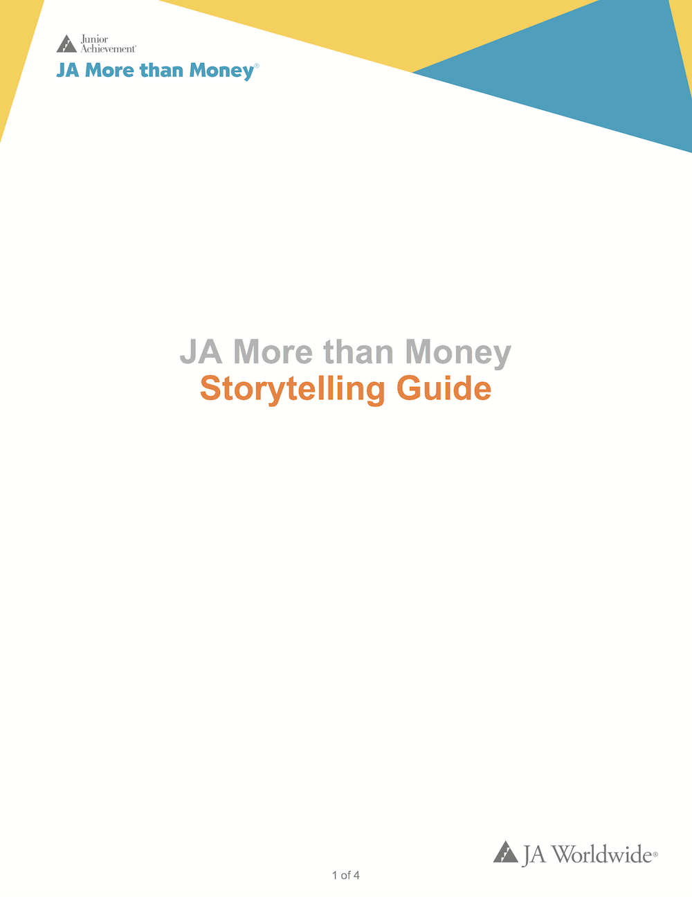 JA More than Money: Storytelling Guide (download  Word document )