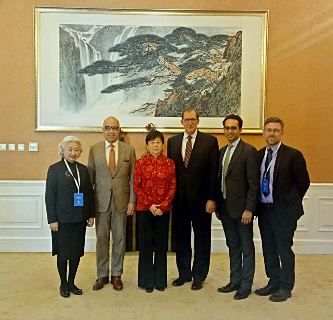 Left to right:   Dr. Elsie Leung Oi Sie, former Secretary for Justice of HKSAR; Darren Walker,   President of The Ford Foundation;   Li Xiaolin, President of CFAFFC;   David D. Arnold, President of The Asia Foundation; Asheesh Advani;   Birger Stamperdahl, CEO of Give2Asia.