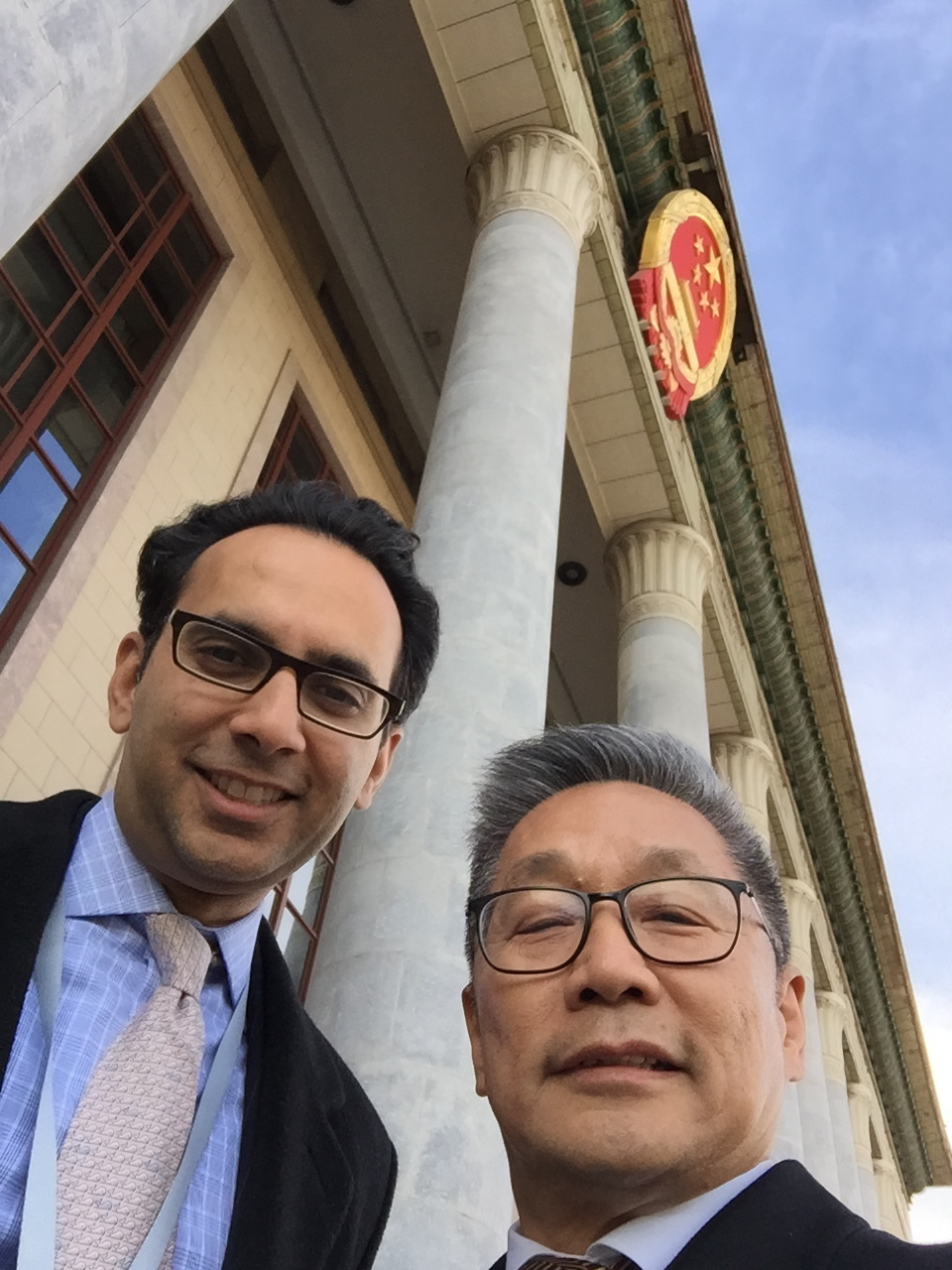 Asheesh Advani with JA China Board Chair and Founder, Paul Chou. Entering Great Hall of the People in Tiananmen Square.