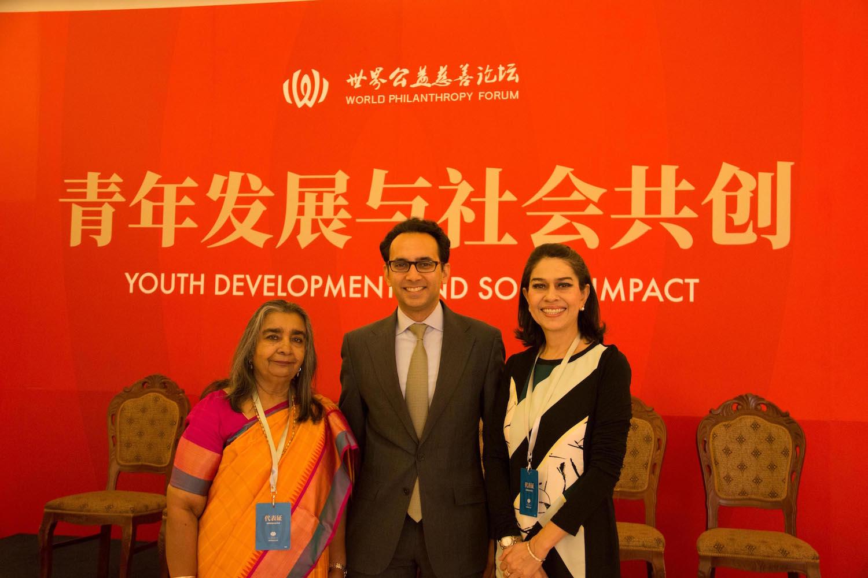 Left to right:   Gowri Ishwaran, CEO of tGELF, JA's partner; Asheesh Advani;   Uzma Kahn, CEO of INJAZ Pakistan.