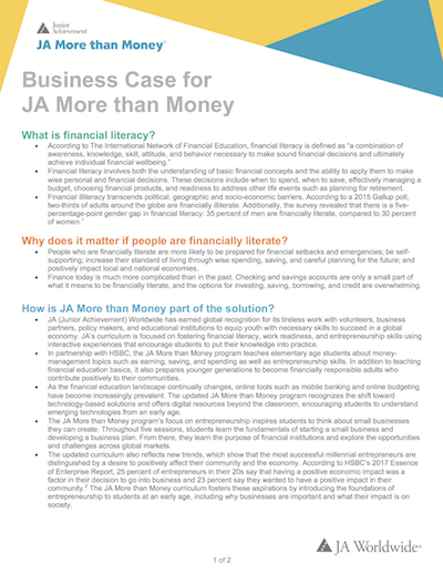 Business Case for JA More than Money (download  Word document )