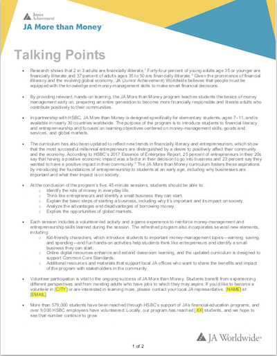 JA More than Money: Talking Points (download  Word document )