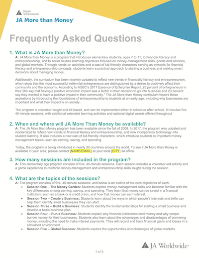 JA More than Money: FAQs (download  Word document )