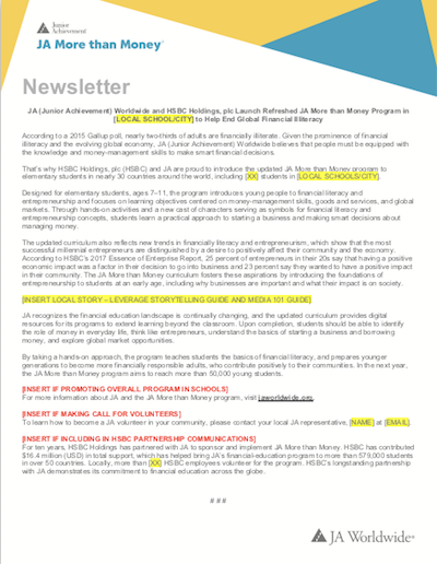 JA More than Money: Newsletter Copy (download  Word document )