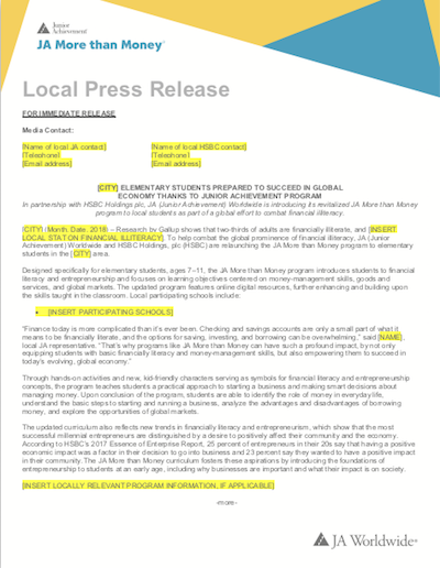 JA More than Money: Press Release (download  Word document )