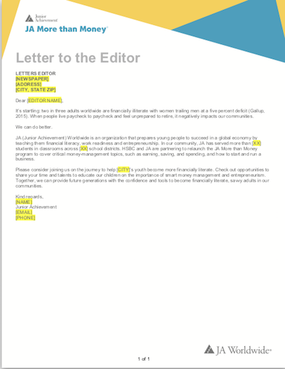 JA More than Money: Letter to the Editor (download  Word document )