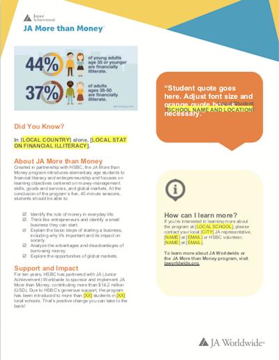 JA More than Money: Digital Flyer for Schools (download  Word document )