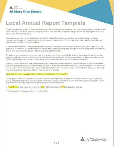 JA More than Money: Annual Report Template (download  Word document )