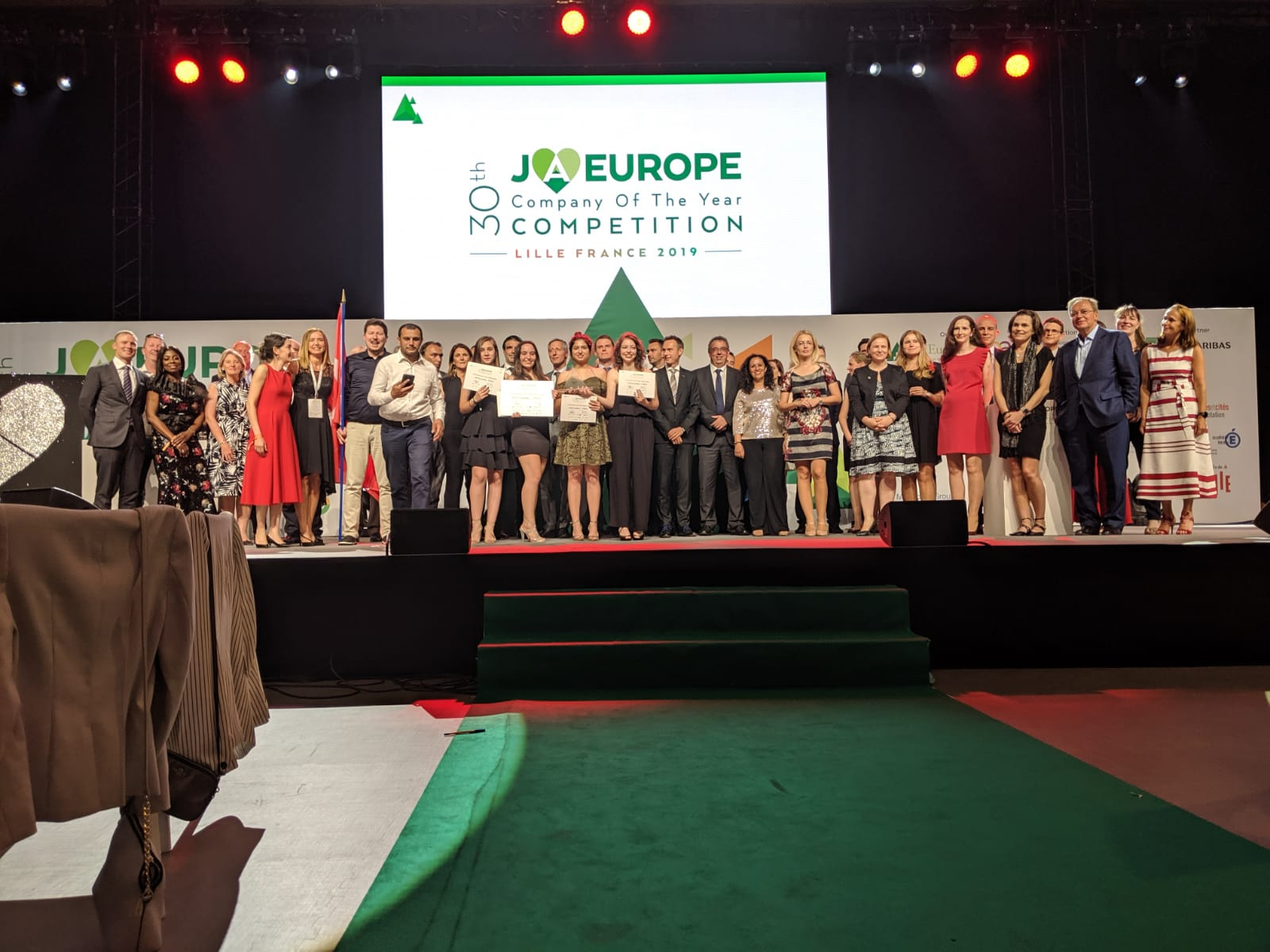 All winning teams at the JA Europe Company of the Year Competition 2019.