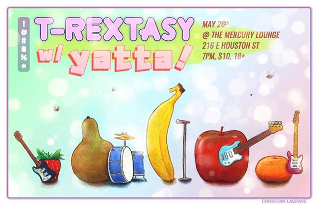 Here's a poster I drew with crayons! Check @trextasynyc out at the mercury on the 26th! 🍓🍐🍌🍎🍊 . . . . . #christianlarrave #lesleythepony #filmmaker #animation #animator #illustration #illustrator #drawing #characterdesign #illustrationart #gif #gifs #gifart #comedy #funny #artistsoninstagram #handdrawn #handdrawing #nyc #art #music #musician #fun #picoftheday #japonisme #carandacheneocolorii #neocolorii #carandache #fruit #stilllife