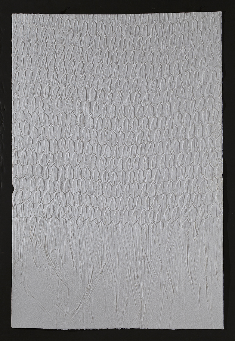 "Palm print   II,  2016, cast cotton paper, 60"" x 40"""
