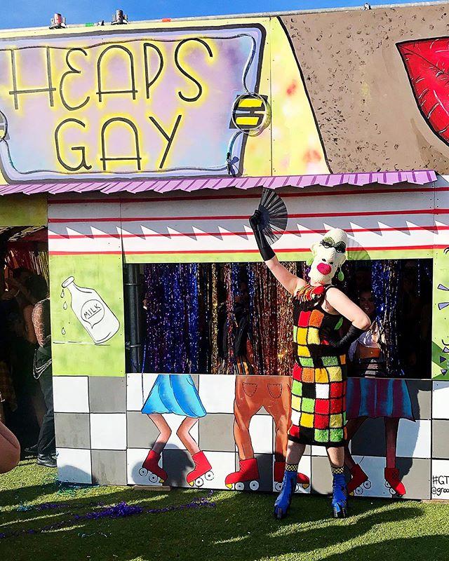 Heaps Gay Crochet 🧶 Mask&Dress made by @deborahelkes Boots 🥾 @dollskill #groovinthemoo #gtm2019 #gendermess #crochet #heapsgay #ginava #dragqueen #milkbar #musicfestival #bunbury #funbury #lgbt #gay #dollskill