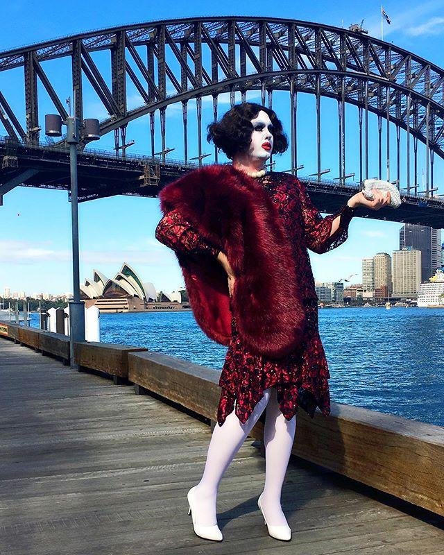 G'day! #godwarrior #sydney #ginava #gendermess #dragqueen #oldhollywood #makeup #burgundy #mahogany #australia #lgbt #perth #vintagefashion #fauxfur