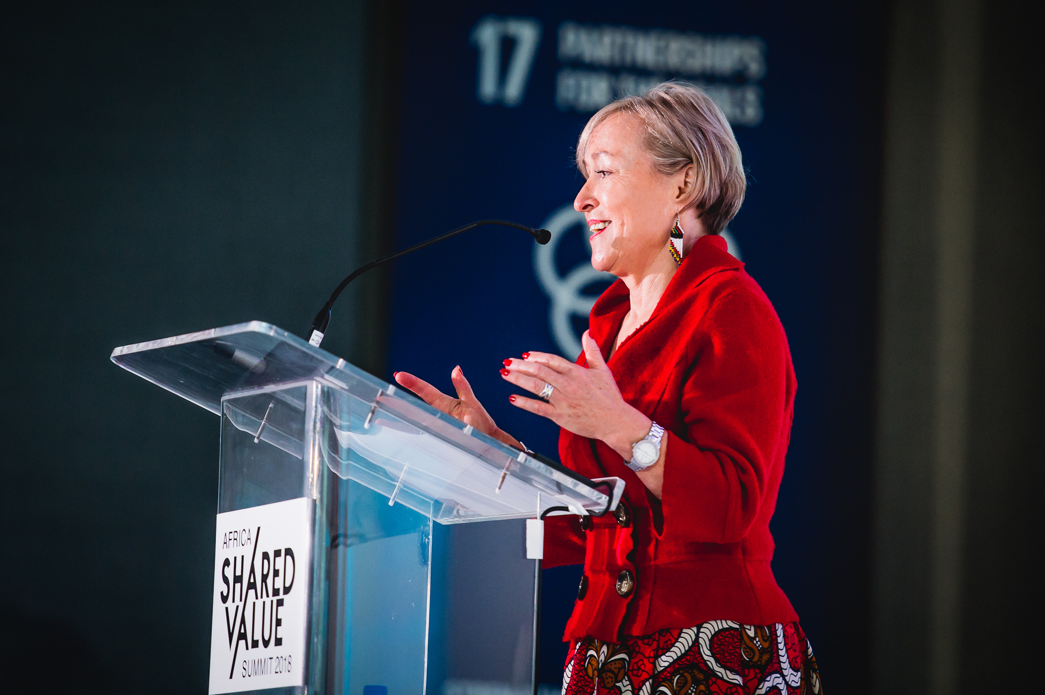 Tiekie Barnard inspiring change at her Africa Shared Value Summit. Photo: Anele Khoza