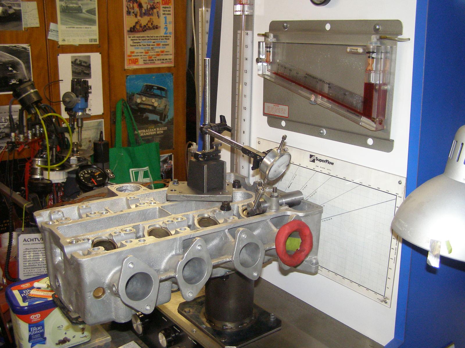 Lotus Twin-Cam Cylinder head on VRD Flowbench