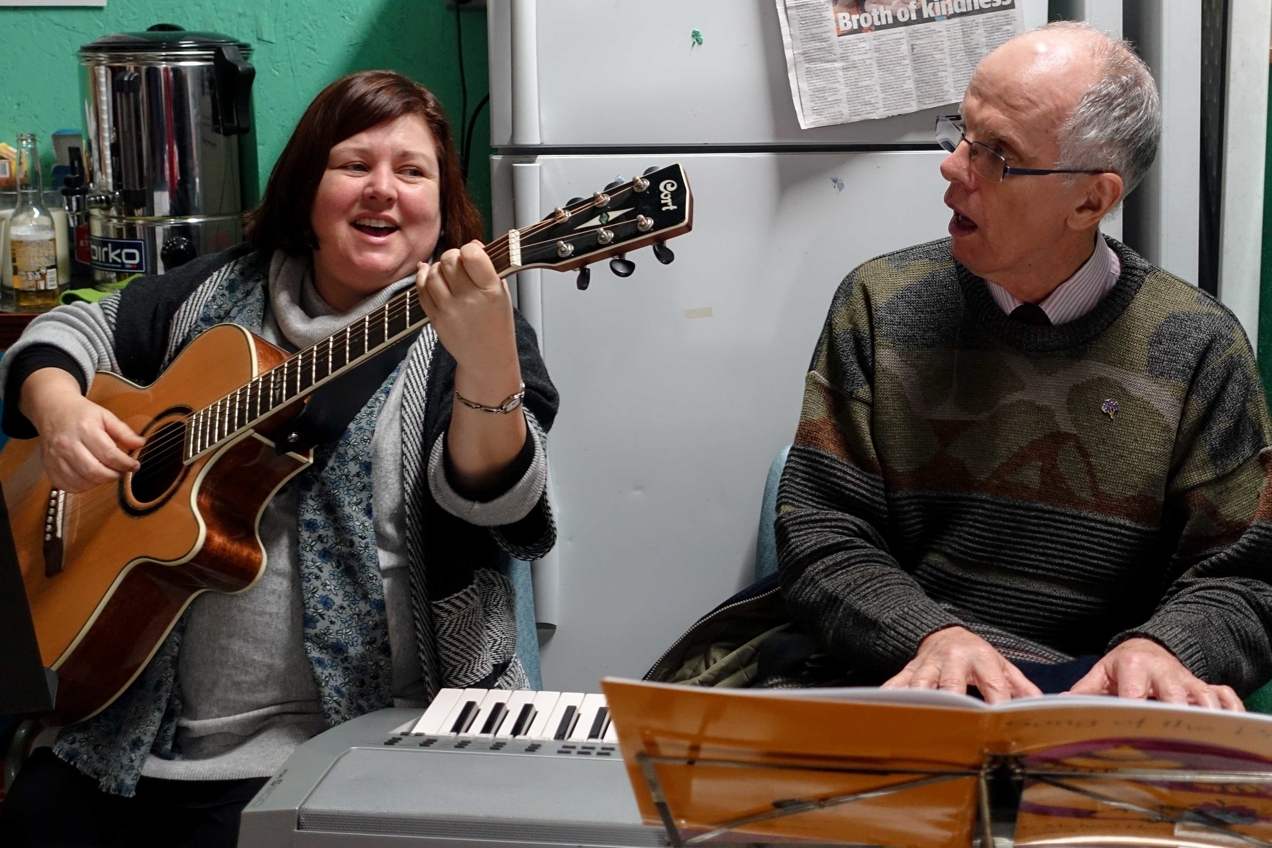 Fiona Dyball and Br. Michael Herry singing for us