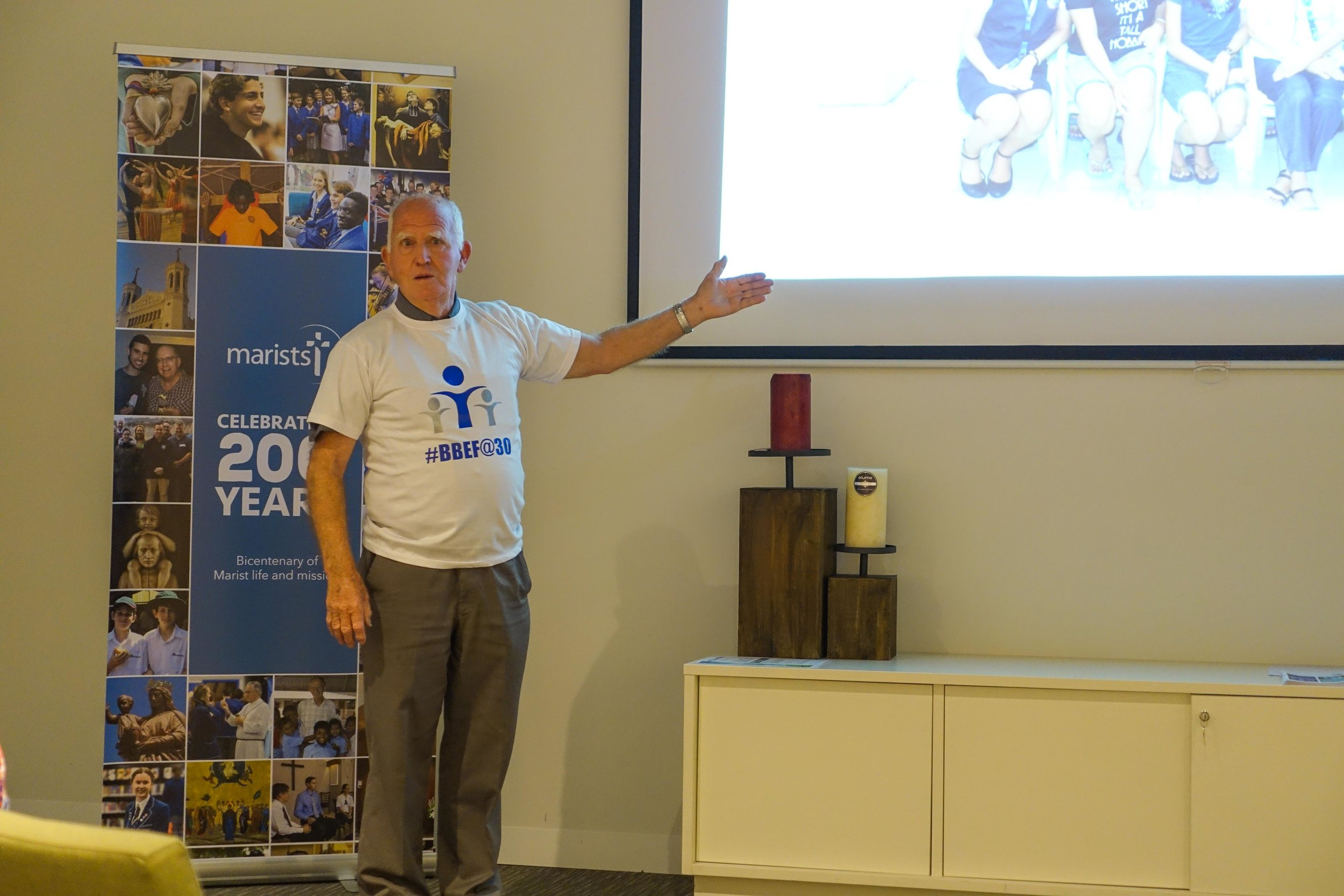 Br Doug Walsh makes a presentation