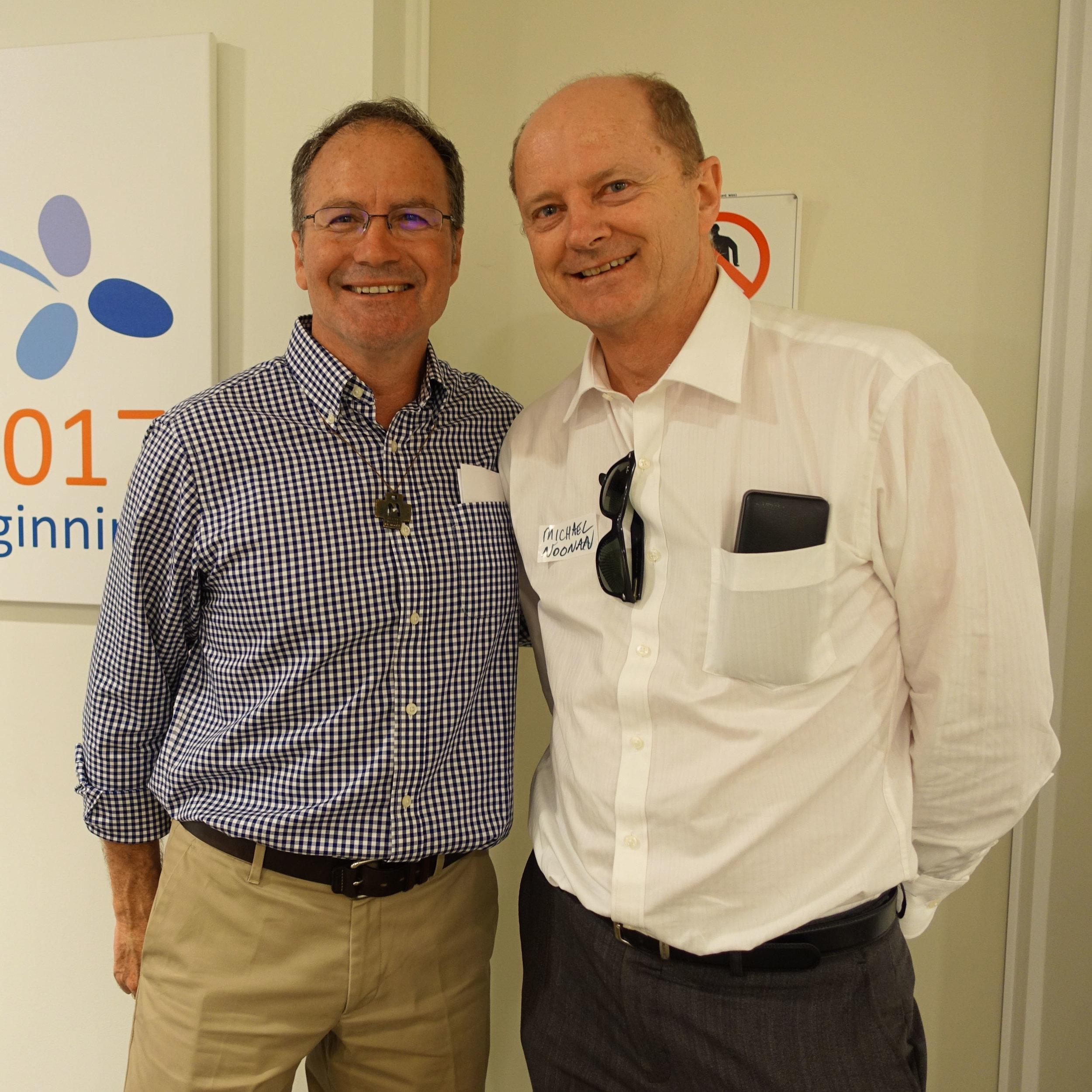 Br Tony Clark and Michael Noonan exchanging stories