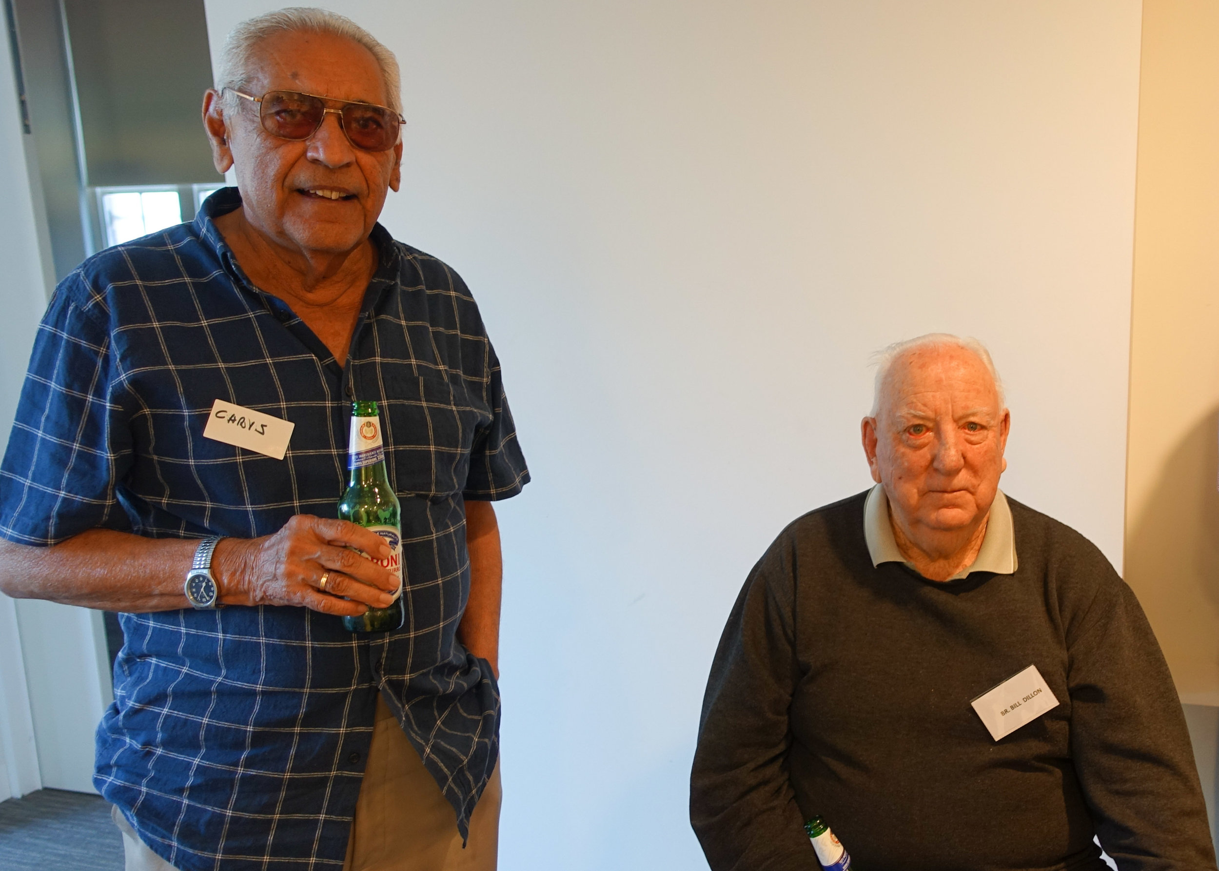 Chris Robers and Br Bill Dillon enjoying a beer together