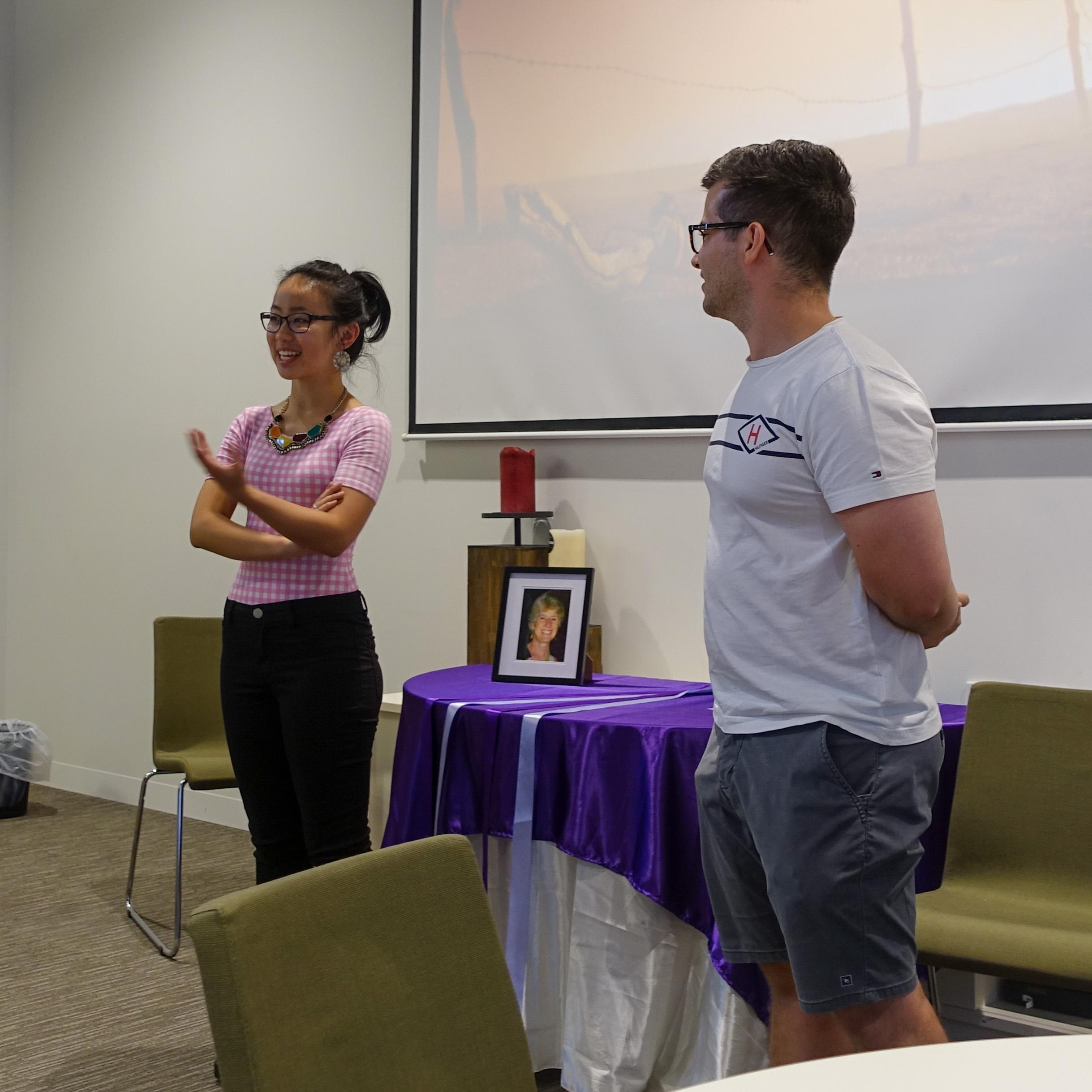 Rhodi Saykao and Josh Colaci sharing Santa Teresa Holiday Programme reflections