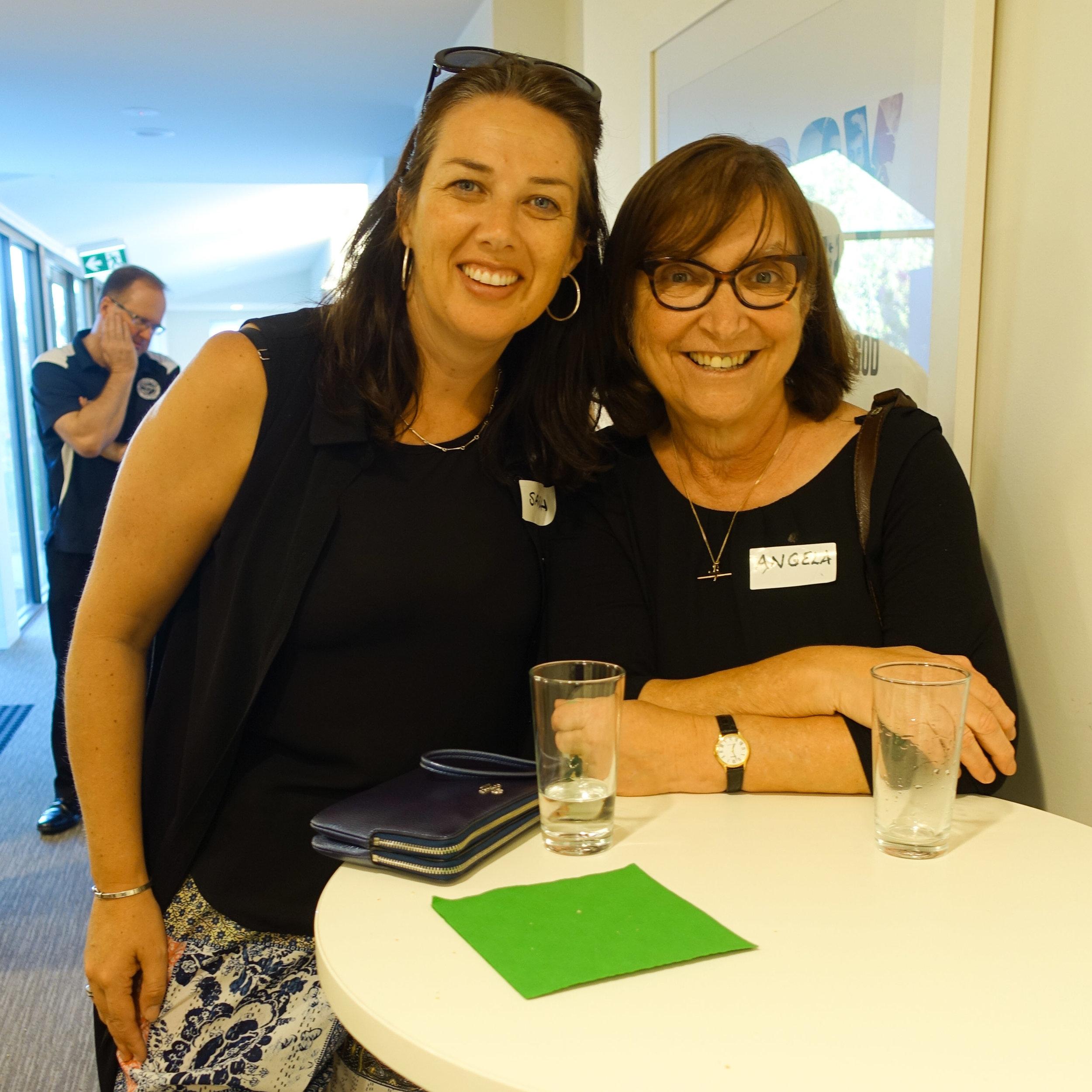 Sarah Cattapan and Angela Tsotsos catching up