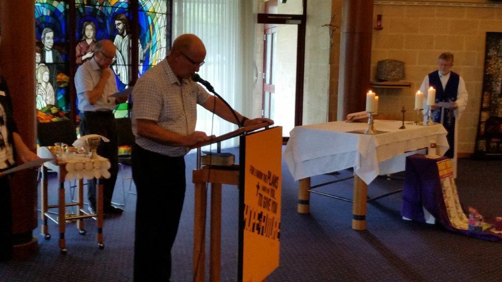 Marist Priest Fr Stephen Truscott celebrated Mass. Member John Geekie reader and Br John Horgan acolyte