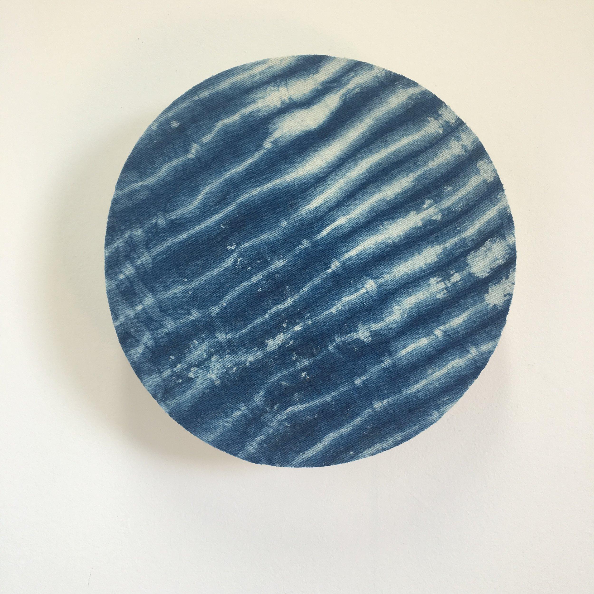 Indigo bound #3    Indigo dyed cotton mounted on layered plywood,340 x 340 x 70