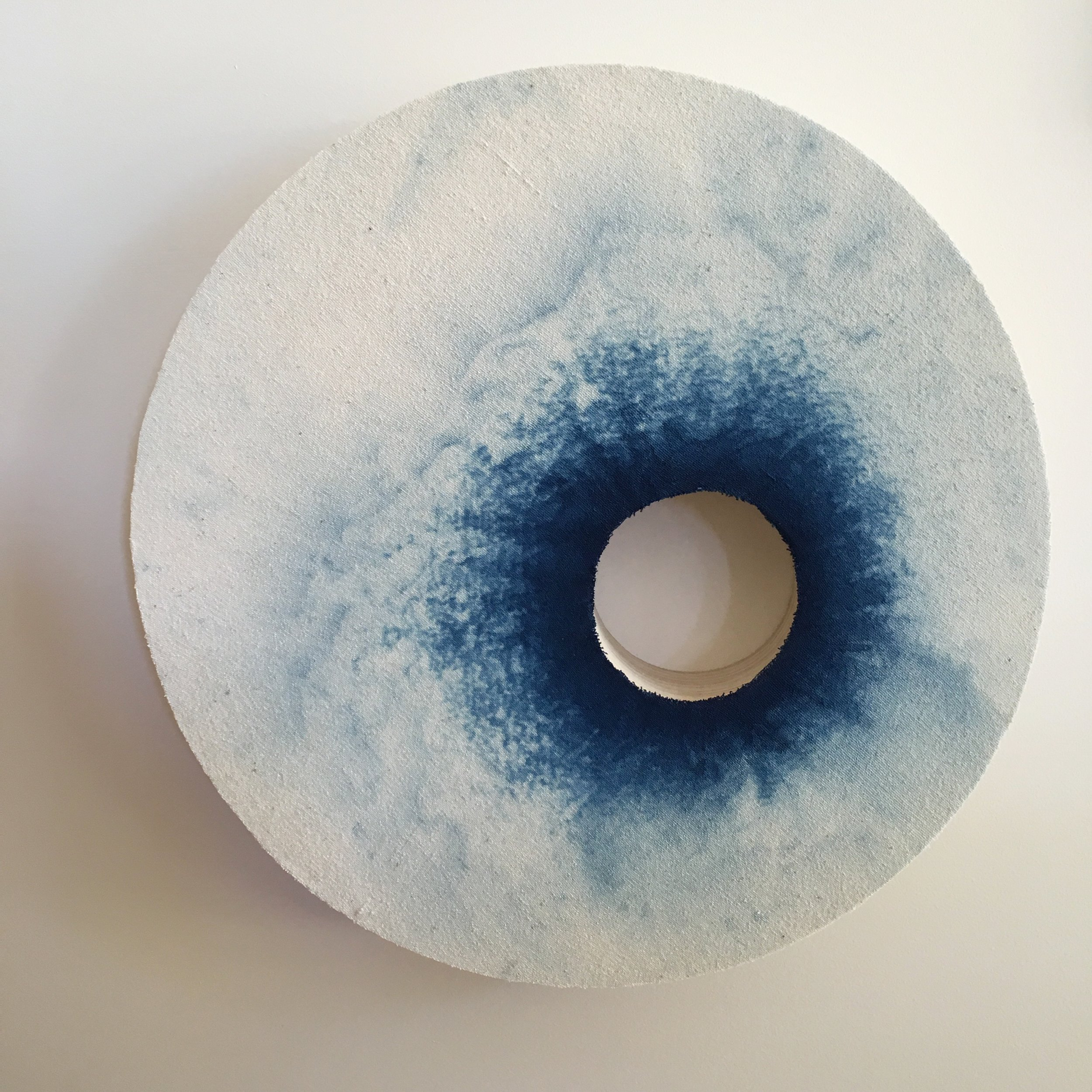 SOLD Indigo with a void    Indigo dyed linen mounted onto layered plywood 340 x 340 x 40