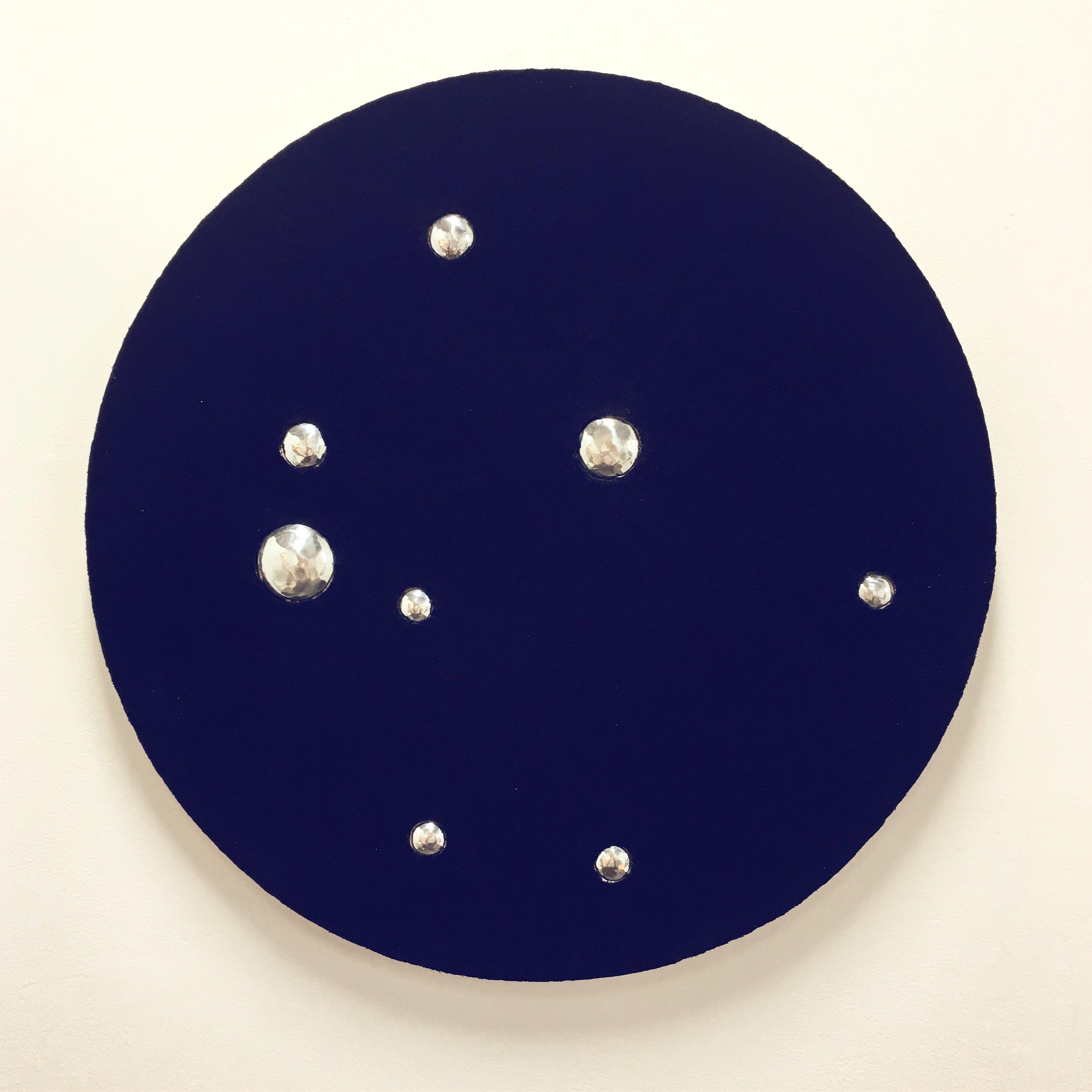 Indigo spaces reflecting    Indigo dyed cotton mounted onto layered plywood with aluminium 74 x 74 x 3.5cm
