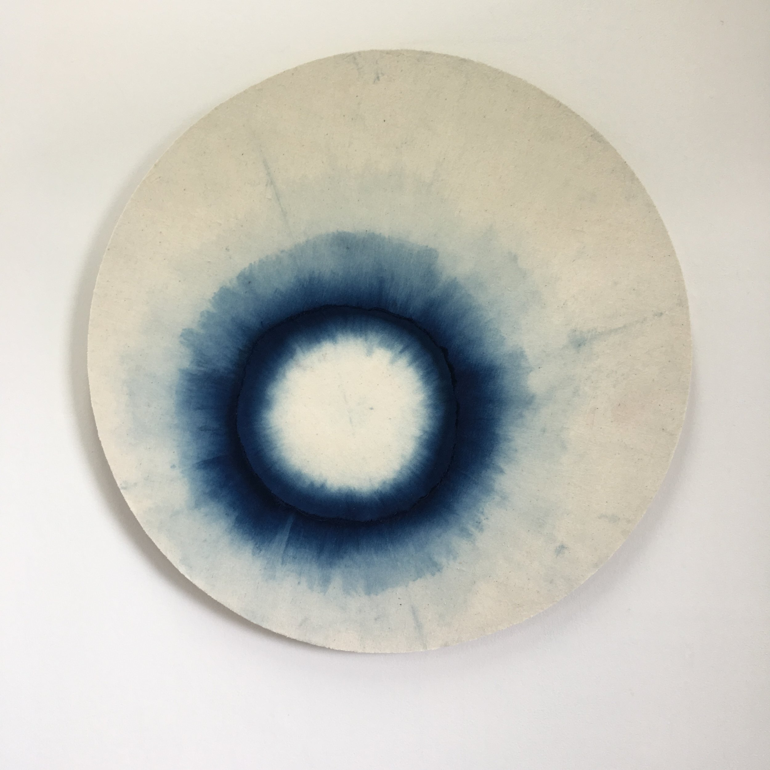 Indigo  opening out and dipped    Indigo dyed cotton mounted onto layered plywood 890 x 890 x 40