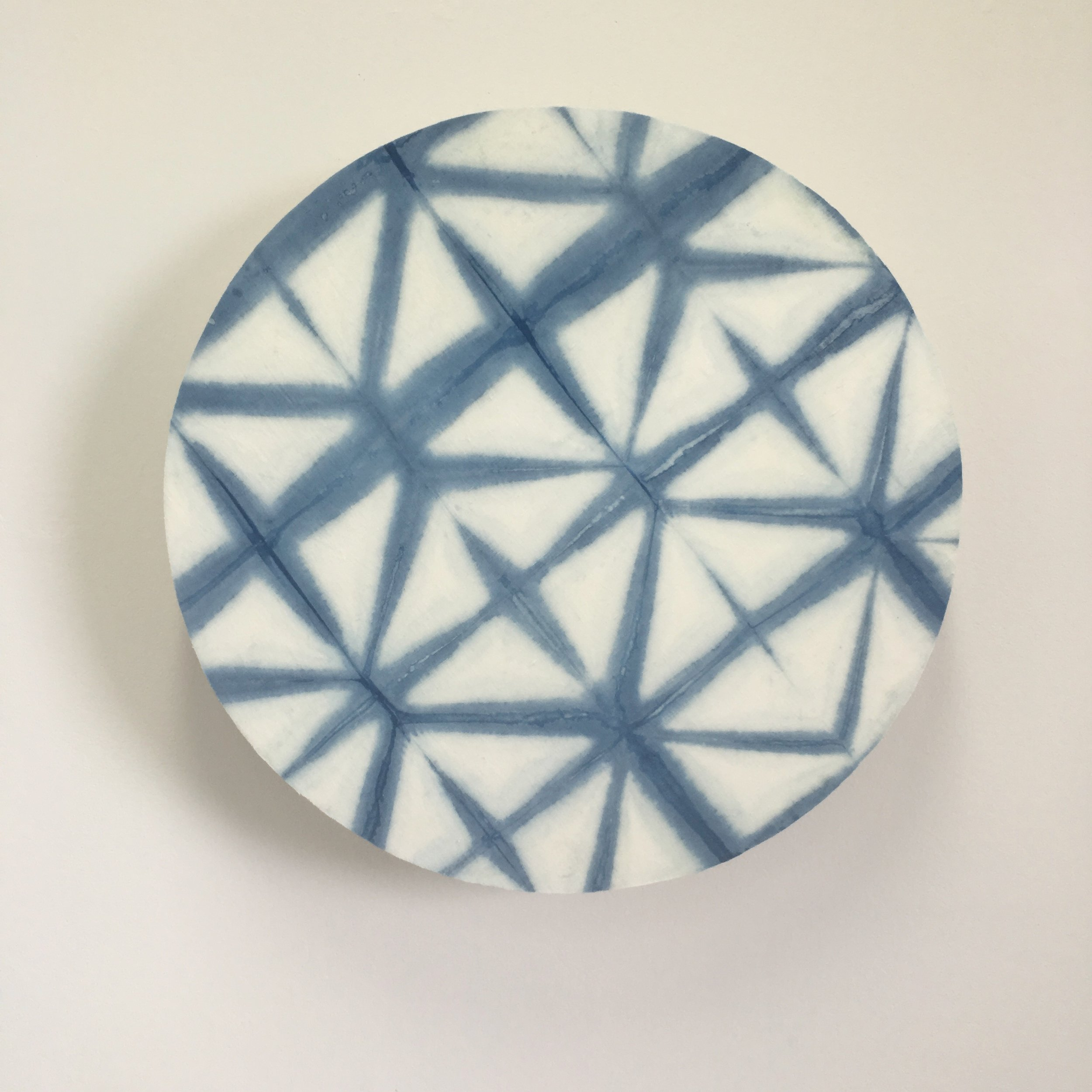Indigo into the fold #1    Indigo dyed cotton/linen mounted on layered plywood,570 x 570 x 95