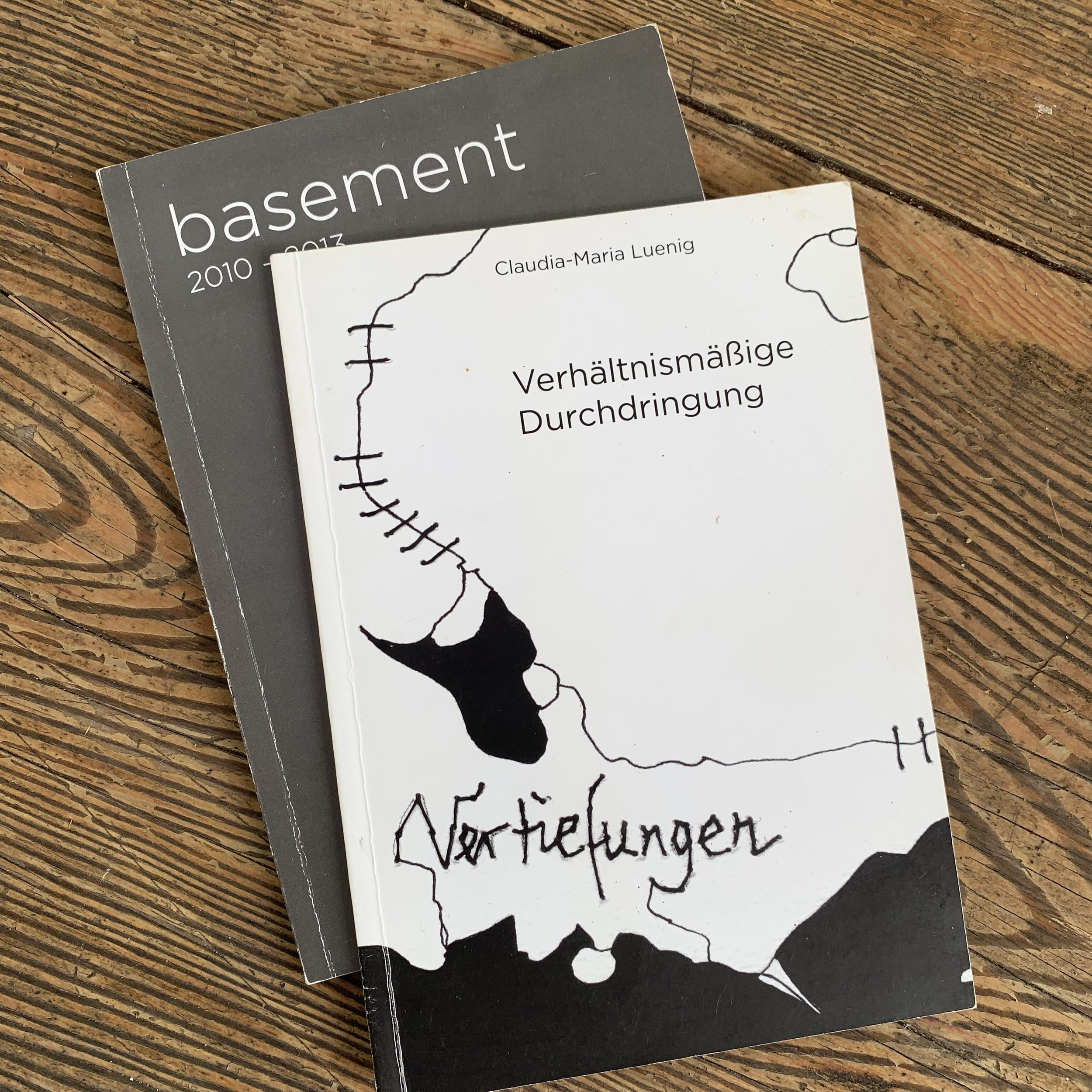 Catalogues for basement gallery in Vienna, Austria and a catalogue of the works of artist/curator Claudia-Maria Luenig.
