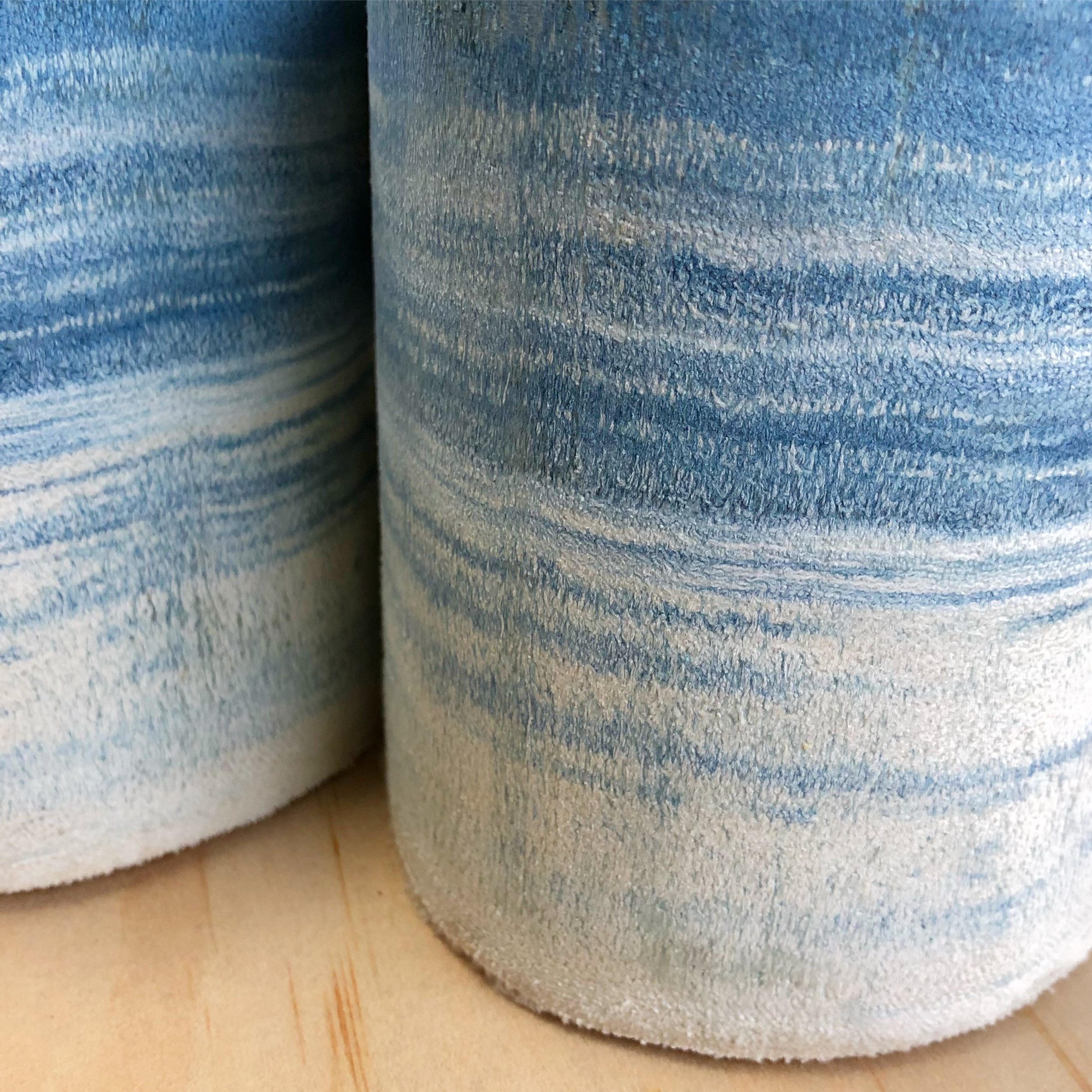 These are indigo dyed scraps of fabric that I have layered and cut. Stratigraphy is the analysis of the order and position of layers of archaeological remains and the structure of a particular set of strata.