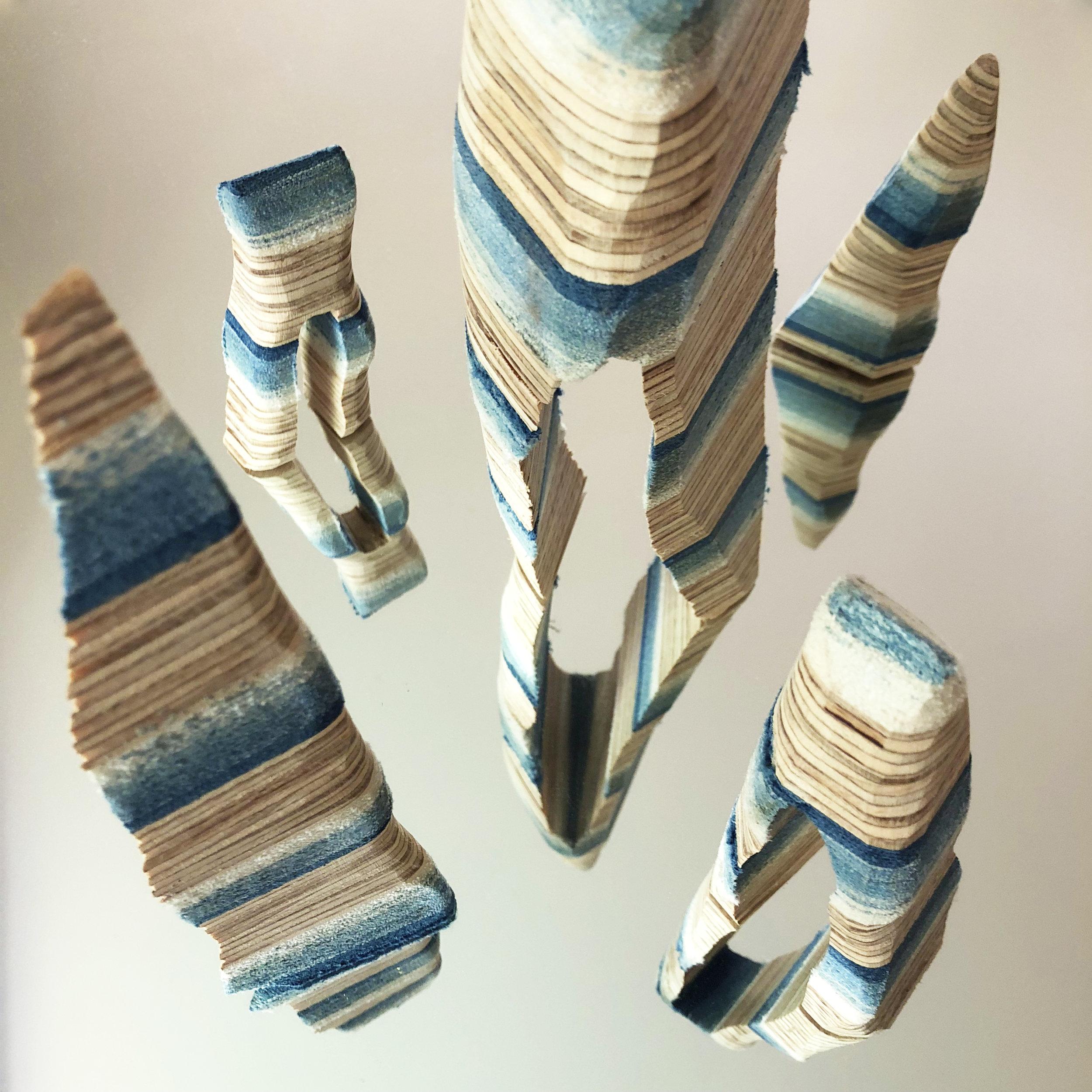 Rachael Wellisch,  Monuments reflected, 2018.  Indigo dyed salvaged textiles layered with studio scraps of plywood. Image: Rachael Wellisch.