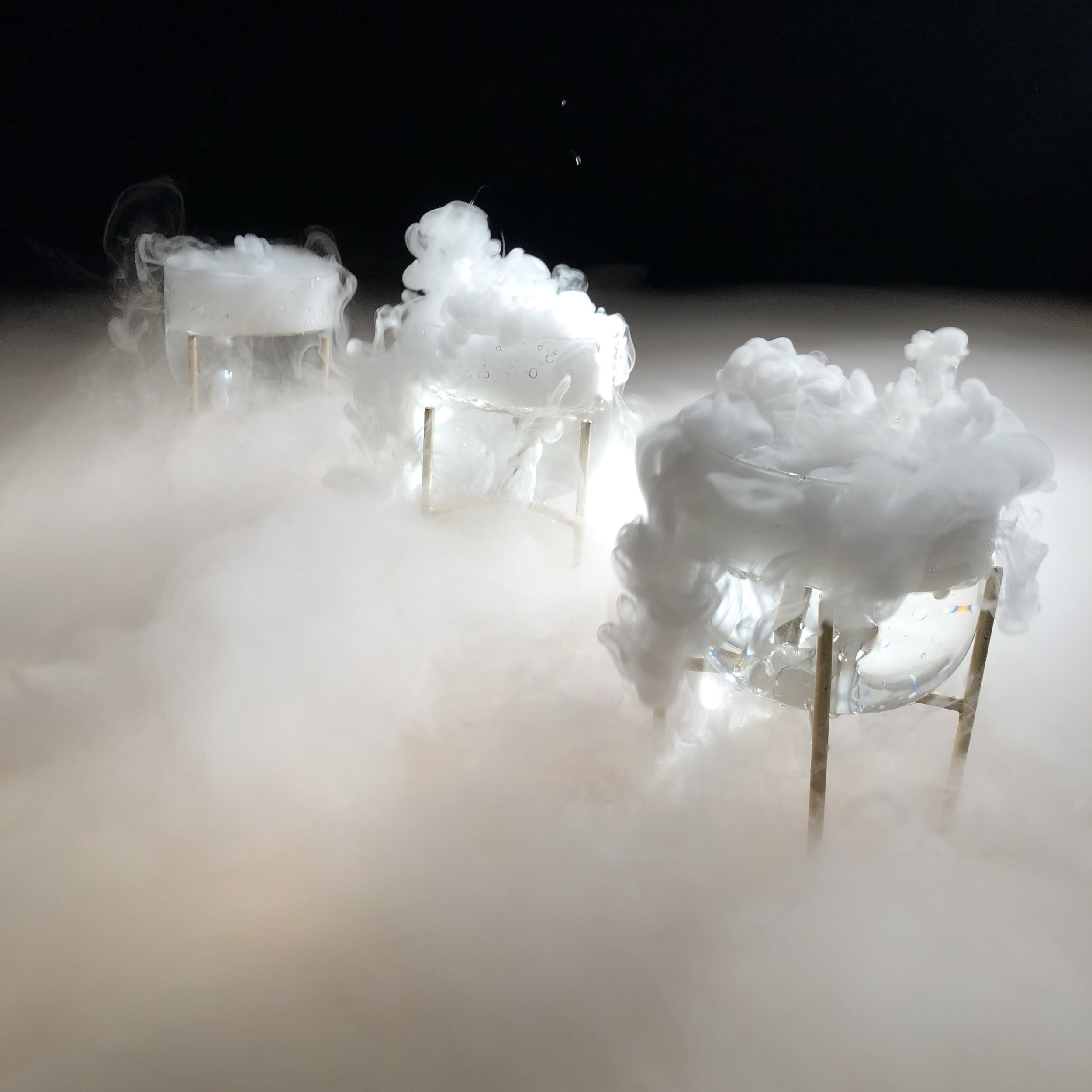 Experiments with using, photographing, filming and recording the sounds of dry ice.