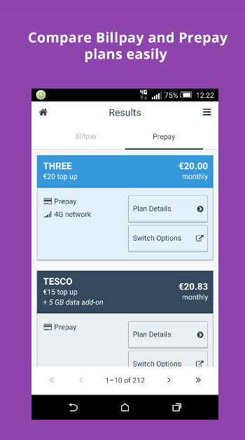 compare billpay and prepay plans easily