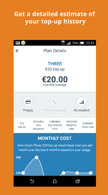 get a detailed estimate of your top-up history