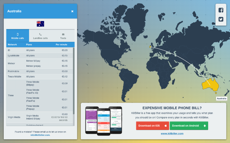 world call costs main page