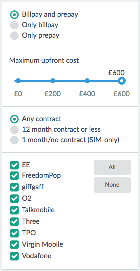 Filter your results by contract, upfront cost and others