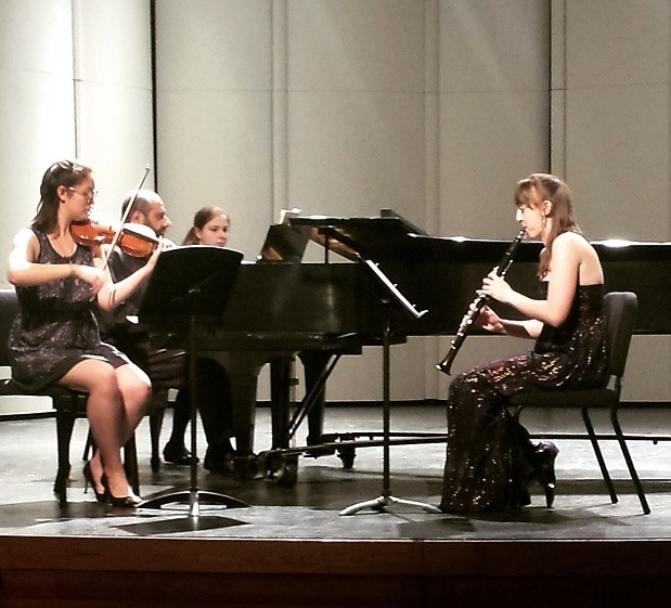 Performing the Khachaturian Trio for Clarinet, Violin, and Piano with Sophia Hubeny (violin) and Vahan Sargsyan (piano). Photo credit Ashley Archie.