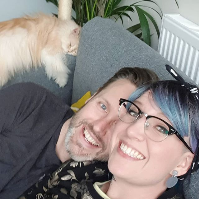 First picture we've managed to get with Toasty in. Three Quarters of the dream team. #rescuecat #weekendchilltime #bluehair #adoptdontshop #netflixandchill