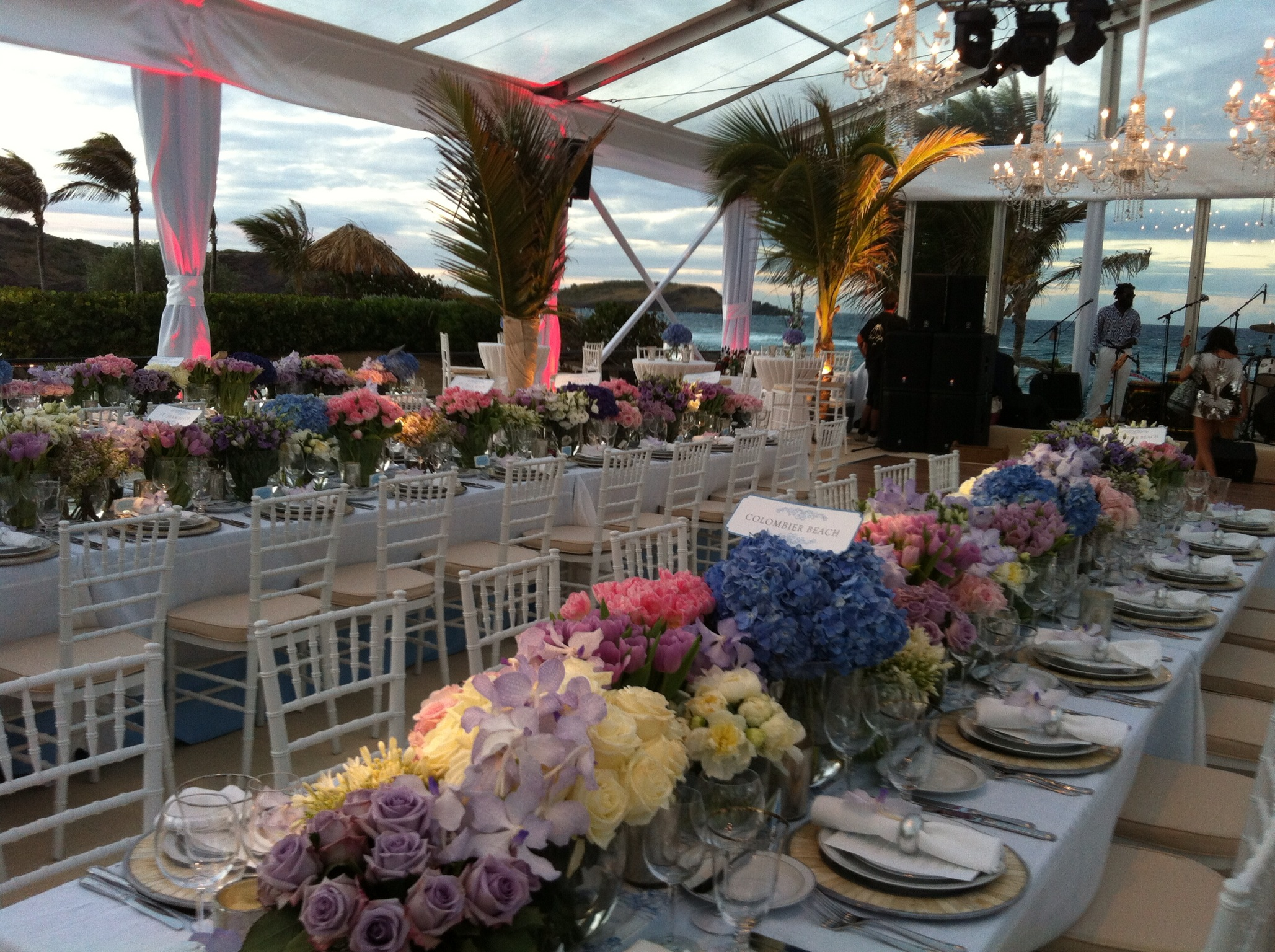 Clear Span Tenting. Luxury Wedding Reception. St Barths