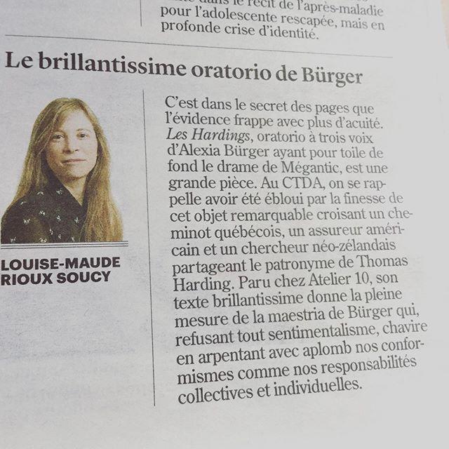 De très bons mots pour «Les Hardings» dans @ledevoir.
