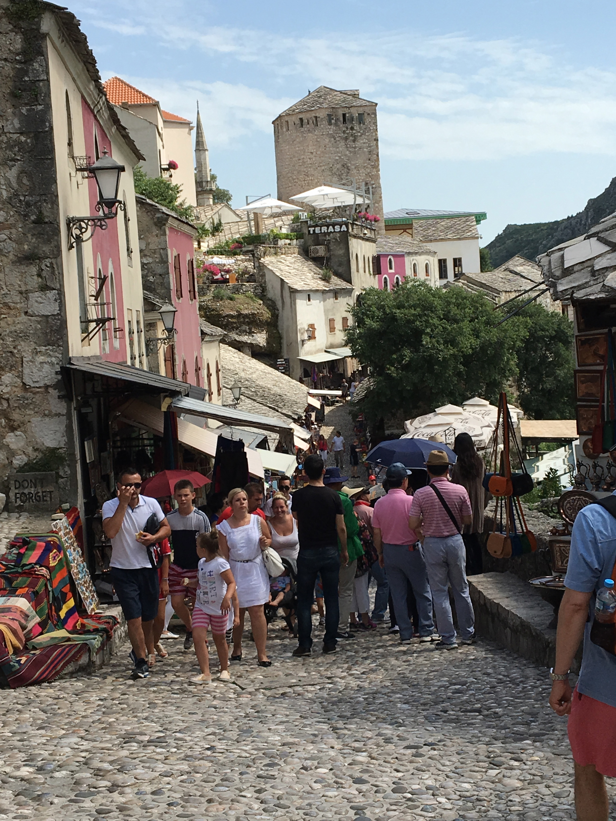 Wandering the outdoor markets in Mostar, Bosnia